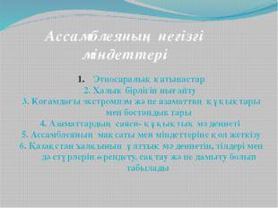 Ассамблеяның негізгі міндеттері Этносаралық қатынастар 2. Халық бірлігін ныға