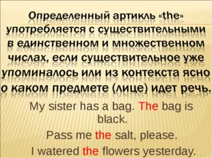 My sister has a bag. The bag is black. Pass me the salt, please. I watered t