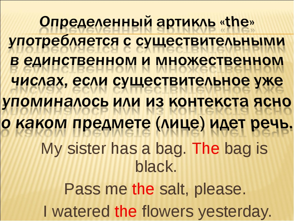 My sister has a bag. The bag is black. Pass me the salt, please. I watered t...