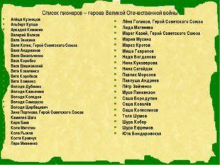 Список пионеров – героев Великой Отечественной войны Алёша Кузнецов Альберт К