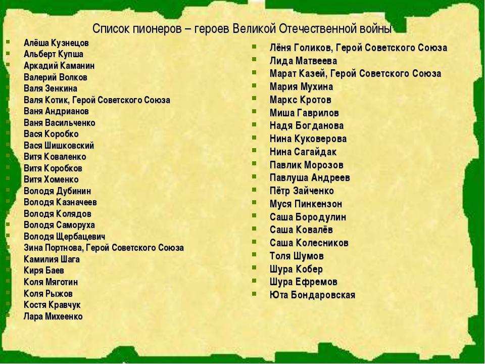 Список пионеров – героев Великой Отечественной войны Алёша Кузнецов Альберт К...