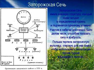Запорожская Сечь Запорожская Сечь имела военную структуру, каждый казак входи