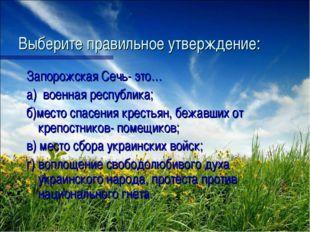 Выберите правильное утверждение: Запорожская Сечь- это… а) военная республика