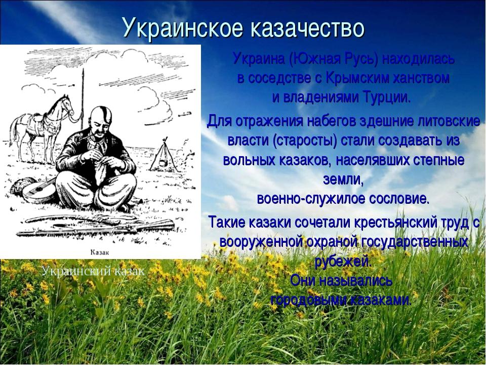 Украинское казачество Украина (Южная Русь) находилась в соседстве с Крымским...