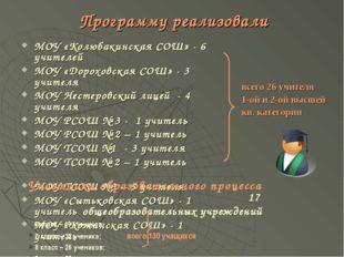 Программу реализовали МОУ «Колюбакинская СОШ» - 6 учителей МОУ «Дороховская С