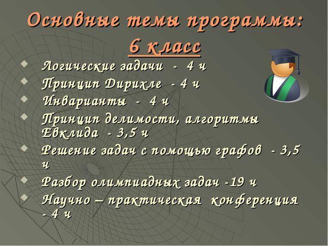 Основные темы программы: 6 класс Логические задачи - 4 ч Принцип Дирихле - 4...