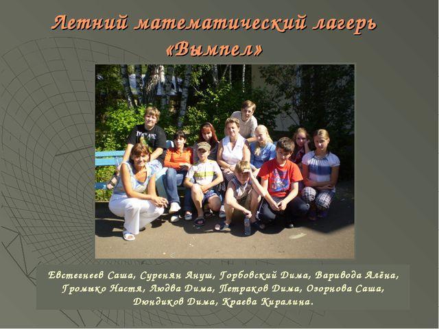 Летний математический лагерь «Вымпел» Евстегнеев Саша, Суренян Ануш, Горбовск...
