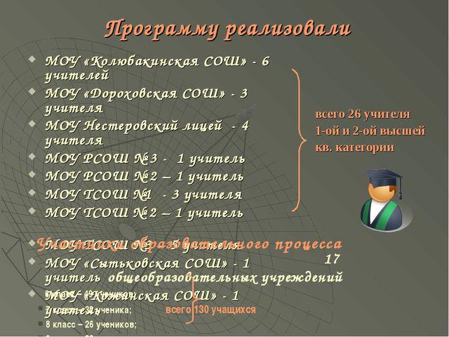 Программу реализовали МОУ «Колюбакинская СОШ» - 6 учителей МОУ «Дороховская С...