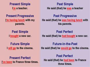 Present Simple I'm a teacher.Past Simple He said (that) he was a teacher Pr