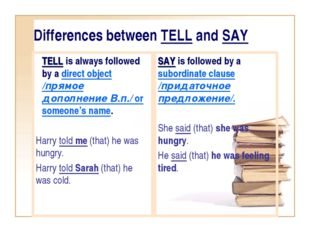 Differences between TELL and SAY TELL is always followed by a direct object /