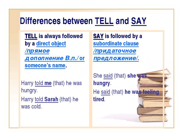Differences between TELL and SAY TELL is always followed by a direct object /...