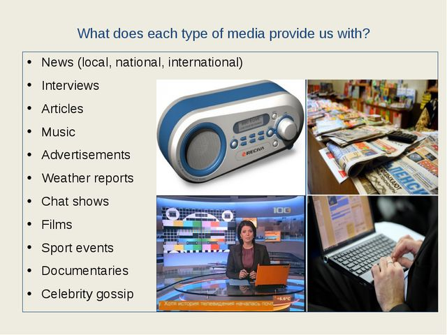What does each type of media provide us with? News (local, national, internat...