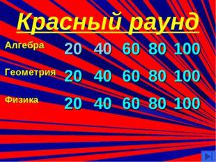 Красный раунд Алгебра20406080100 Геометрия 20406080100 Физика2040