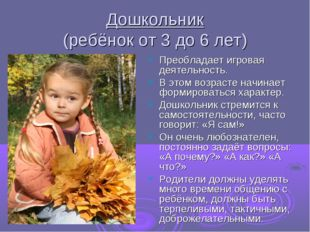 Дошкольник (ребёнок от 3 до 6 лет) Преобладает игровая деятельность. В этом в