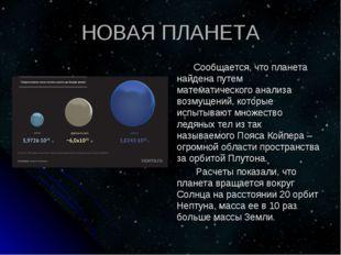 НОВАЯ ПЛАНЕТА Сообщается, что планета найдена путем математического анализа в
