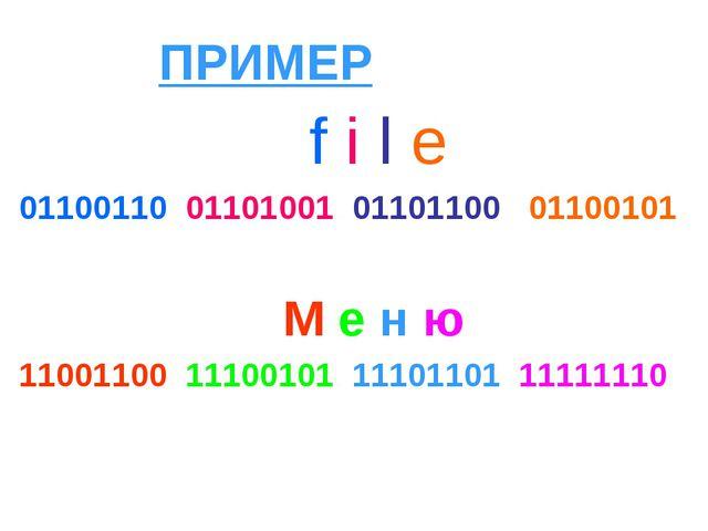 ПРИМЕР f i l e 01100110 01101001 01101100 01100101 М е н ю 11001100 11100101...