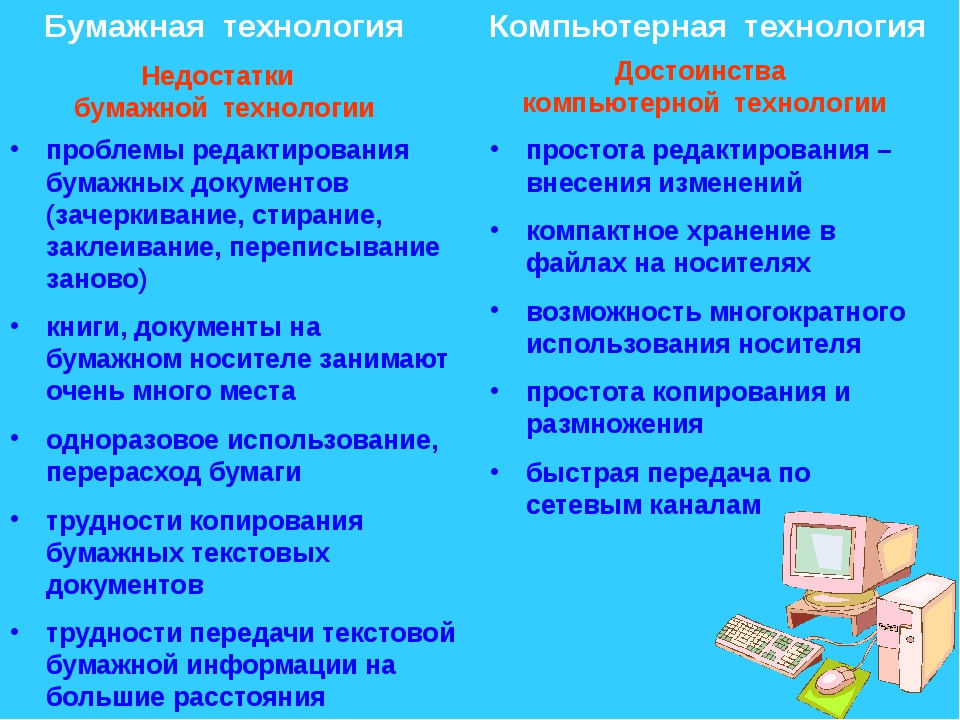 Бумажная технология Компьютерная технология Недостатки бумажной технологии До...