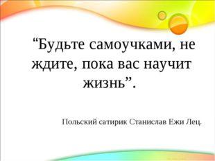 """""""Будьте самоучками, не ждите, пока вас научит жизнь"""". Польский сатирик Стани"""