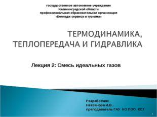 * государственное автономное учреждение Калининградской области профессиональ