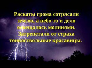 Раскаты грома сотрясали землю, а небо то и дело освещалось молниями. Затрепе