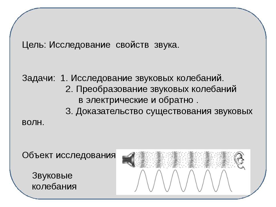 Цель: Исследование свойств звука. Задачи: 1. Исследование звуковых колебаний...