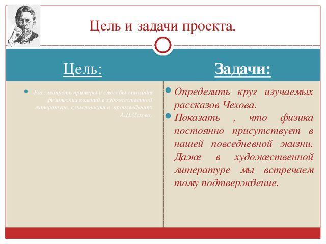 Цель: Задачи: Рассмотреть примеры и способы описания физических явлений в худ...
