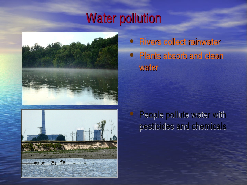 Water pollution Rivers collect rainwater Plants absorb and clean water People...