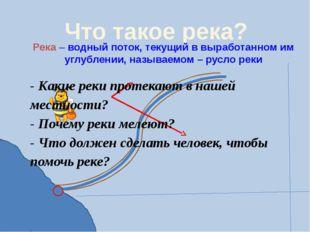 Что такое река? Река – водный поток, текущий в выработанном им углублении, на