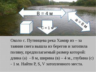 Около с. Путинцева река Хамир из – за таяния снега вышла из берегов и затопил
