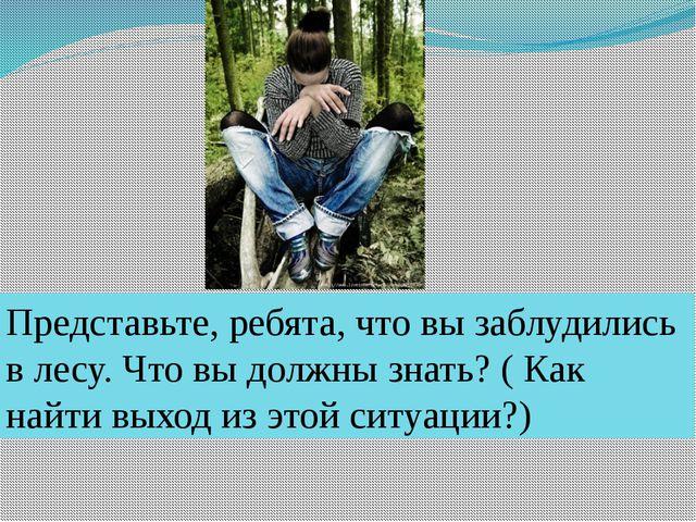 Представьте, ребята, что вы заблудились в лесу. Что вы должны знать? ( Как на...