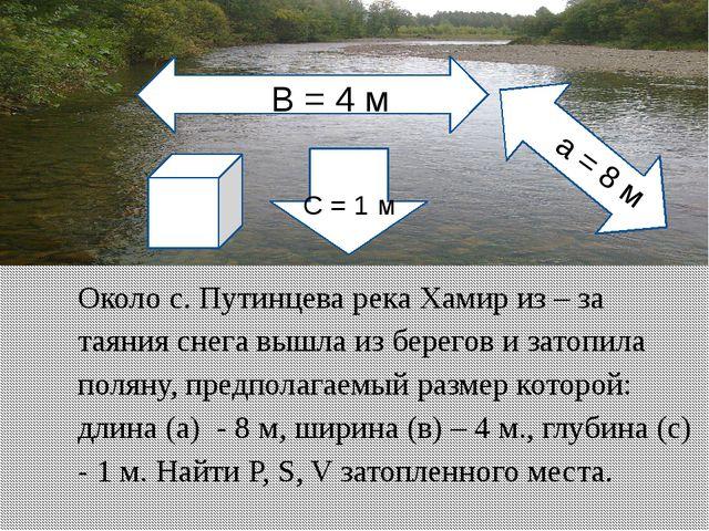 Около с. Путинцева река Хамир из – за таяния снега вышла из берегов и затопил...