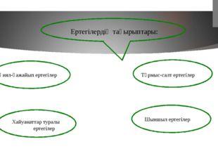 Қиял-ғажайып ертегілер Тұрмыс-салт ертегілер Хайуанаттар туралы ертегілер Шы