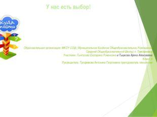 Образовательная организация: МКОУ СОШ ( Муниципальное Казённое Общеобразовате