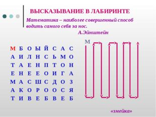 ВЫСКАЗЫВАНИЕ В ЛАБИРИНТЕ «змейка» Математика – наиболее совершенный способ в