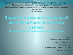 Видовой и весовой состав рыб реки Чича Княжпогостского района Презентация исс