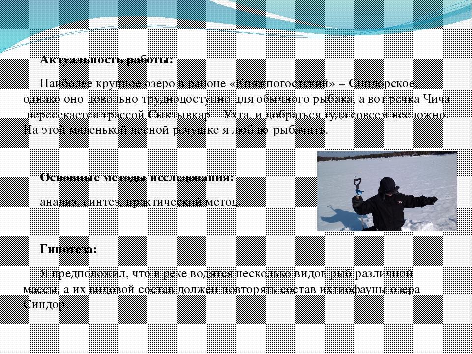 Актуальность работы: Наиболее крупное озеро в районе «Княжпогостский» – Синдо...