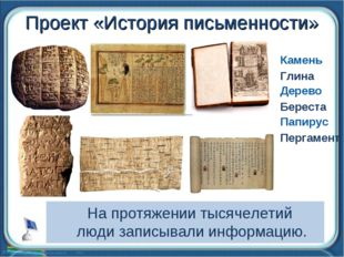 Проект «История письменности» Камень Глина Дерево Папирус Пергамент Береста
