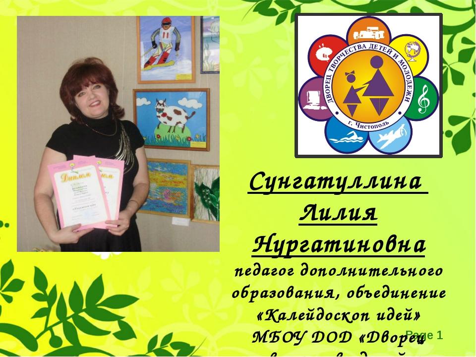 Сунгатуллина Лилия Нургатиновна педагог дополнительного образования, объедине...