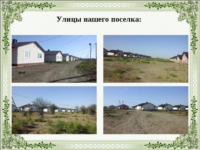 Улицы нашего поселка: