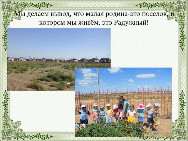 Мы делаем вывод, что малая родина-это поселок, в котором мы живём, это Радужн...