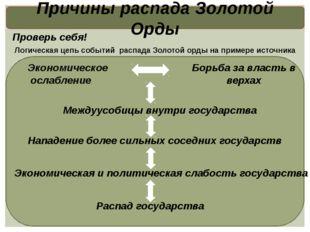 Причины распада Золотой Орды Логическая цепь событий распада Золотой орды на