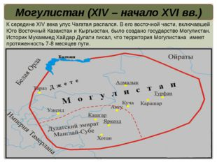 Могулистан (XIV – начало XVI вв.) К середине XIV века улус Чагатая распался.