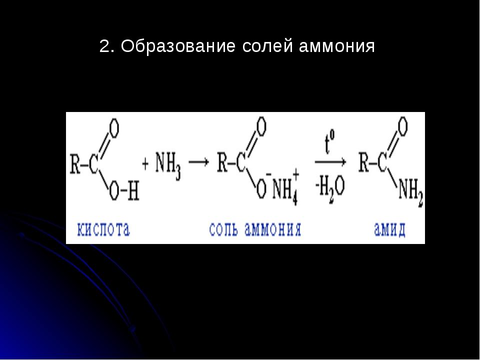 2. Образование солей аммония