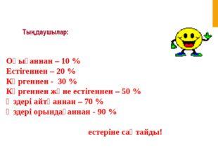 Тыңдаушылар: Оқығаннан – 10 % Естігеннен – 20 % Көргеннен - 30 % Көргеннен жә