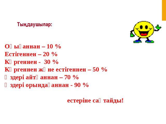 Тыңдаушылар: Оқығаннан – 10 % Естігеннен – 20 % Көргеннен - 30 % Көргеннен жә...