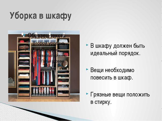 В шкафу должен быть идеальный порядок. Вещи необходимо повесить в шкаф. Грязн...