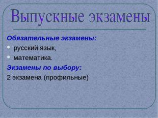 Обязательные экзамены: русский язык, математика. Экзамены по выбору: 2 экзаме