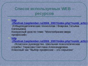 Список используемых WEB – ресурсов http://festival.1september.ru/2006_2007/in