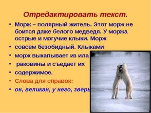 Отредактировать текст. Морж – полярный житель. Этот морж не боится даже белог