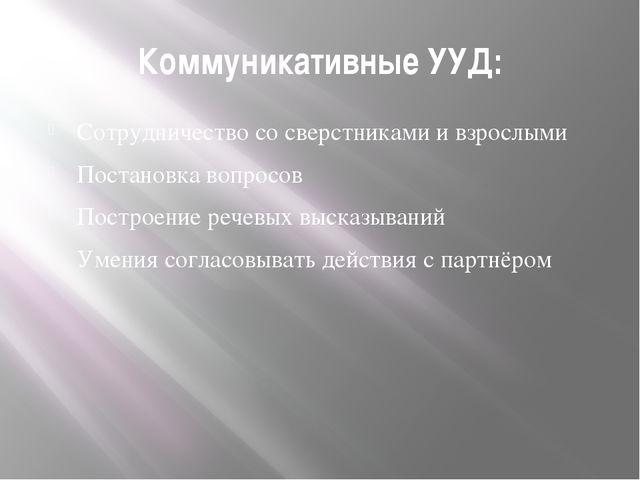 Коммуникативные УУД: Сотрудничество со сверстниками и взрослыми Постановка во...